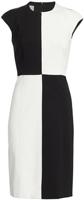 Akris Punto Colorblock Cap-Sleeve Sheath Dress