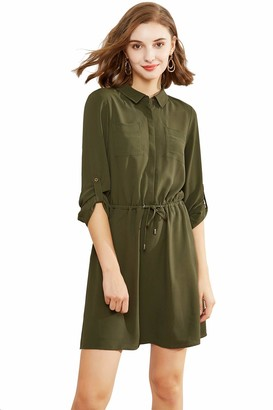 Plumberry Long Sleeve Casual Collared Elastic Waist Lacing Spring Dresses for Women Green