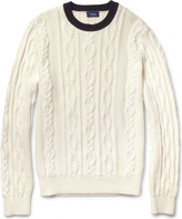 Façonnable Cable-Knit Cotton and Cashmere-Blend Sweater