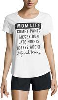 City Streets Short Sleeve Crew Neck Pattern T-Shirt-Womens