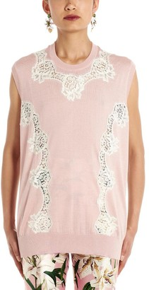 Dolce & Gabbana Contrast Lace Panel Sleeveless Top