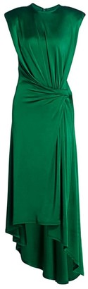 Monse Gathered Power Shoulder Satin Midi Dress