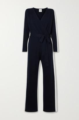 Madeleine Thompson Ajax Wrap-effect Striped Cashmere Jumpsuit - Navy