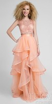 Terani Couture A-line Ruffle Tiered Two Piece Prom Gown