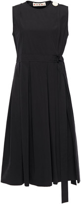 Marni Pleated Button-embellished Cotton-poplin Wrap Dress