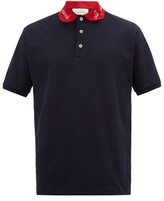 Gucci Embroidered-collar Cotton-blend Polo Shirt - Mens - Navy