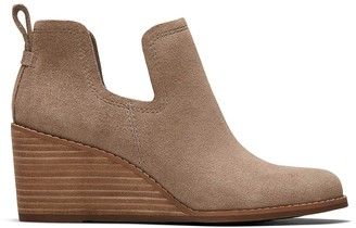 Toms Taupe Suede Kallie Wedge Bootie