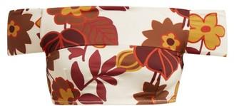 Dodo Bar Or Ceccile Off-the-shoulder Floral-print Bikini Top - Womens - Cream Print