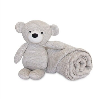 Living Textiles Baby Bento Gift Set Knitted Plush and Blanket Bear