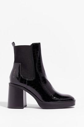 Nasty Gal Womens Level Up Croc Heeled Boots - Black - 3