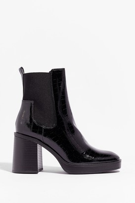 Nasty Gal Womens Level Up Croc Heeled Boots - Black - 4