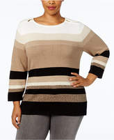 Karen Scott Plus Size Cotton Striped Zip-Shoulder Sweater, Created for Macy's