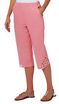 "Denim & Co. How Timeless"" Stretch Twill Capri Pants w/ Battenburg Lace"