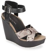 Kenneth Cole Clove Snake-Embossed Leather Platform Wedge Sandals