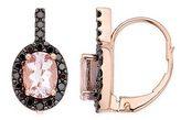 1 5/8 Carat Morganite and 3/8 Carat Black Diamond 14K Pink Gold Earrings