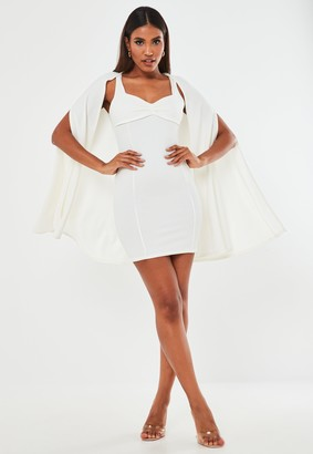 Missguided White Crepe Sweetheart Neck Mini Dress