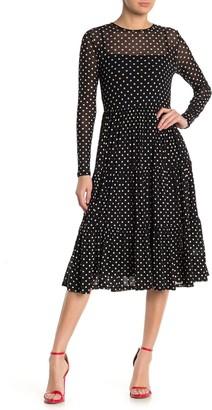 Spirit Of Grace Polka Dot Long Sleeve A-Line Mesh Midi Dress
