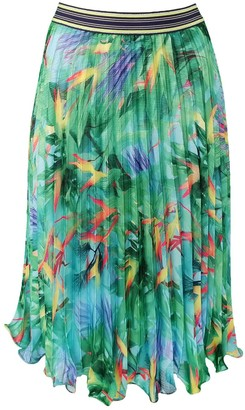 Lalipop Design Pleated Midi Skirt With Digital Print Leaf Patterns
