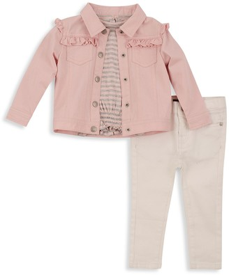 7 For All Mankind Girl's 3-Piece Denim Jacket, T-Shirt & Pants Set