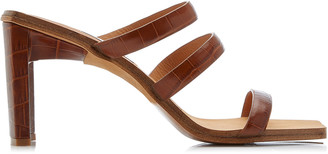 Miista Joanne Croc-Embossed Leather Sandals