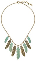 Lucky Brand Patina Feather Collar Necklace Necklace