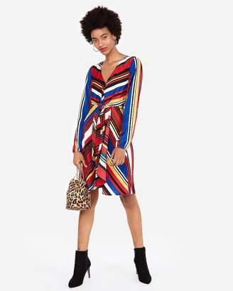 Express Striped Knotted V-Neck Elastic Waist Dress