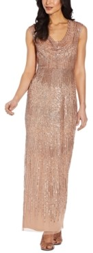 Adrianna Papell Cowlneck Embellished Gown