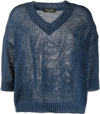Roberto Collina v-neck crocheted jumper