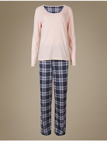 M&S Collection Pure Cotton Printed Long Sleeve Pyjamas