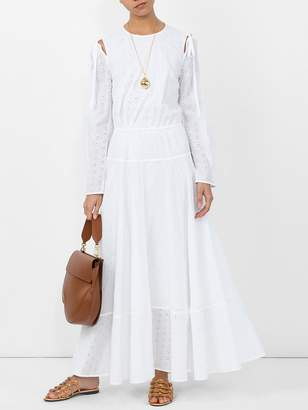 Calvin Klein embroidered peasant dress white