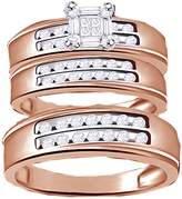 Jewel Zone US White Natural Diamond Engagement and Wedding Trio Band Ring Set In 14k Gold Over Sterling Silver (0.5 Ct)