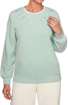Alfred Dunner Classics Womens Crew Neck Long Sleeve Sweatshirt