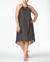 MICHAEL Michael Kors Size Metallic-Print High-Low Dress