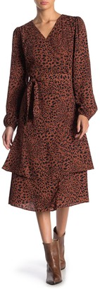 Everly Leopard Print Long Sleeve Wrap Dress
