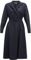 The Row Tula Belted Wool Shirt Dress - Womens - Navy