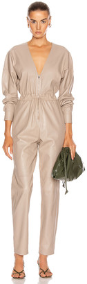 ZEYNEP ARCAY V Neck Leather Jumpsuit in Sand | FWRD