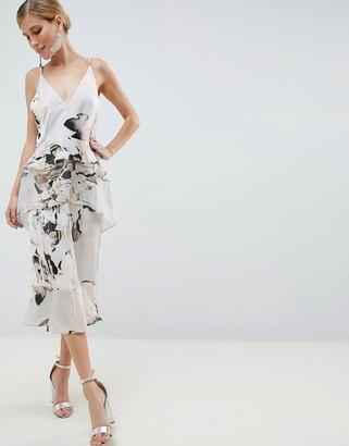 Asos Design DESIGN floaty cami midi dress in blurred floral print-Multi