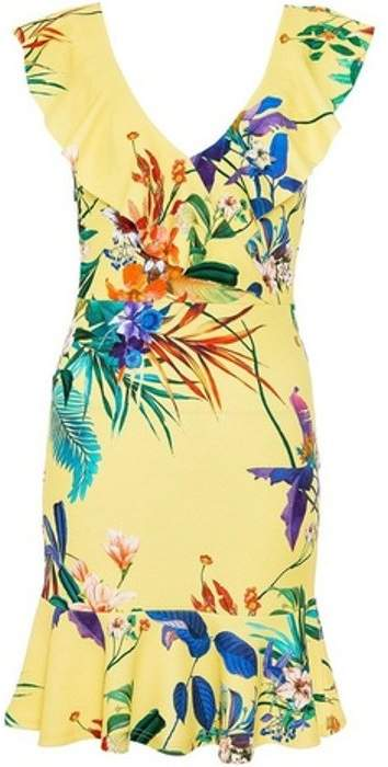 Dorothy Perkins Womens *Quiz Yellow Floral Print Skater Dress