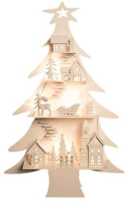 The Christmas Workshop 8 LED Battery Operated White Wooden City in A Tree Light
