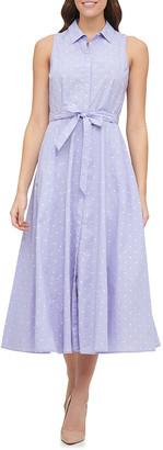 Tommy Hilfiger Women's Casual Dresses D2Y - Dust Blue & Ivory Dot Sleeveless Tie-Waist Shirt Dress - Women