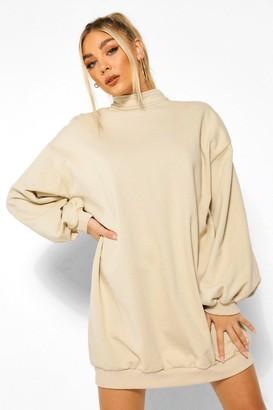 boohoo Balloon Sleeve Open Back Sweatshirt Dress