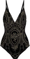 I.D. Sarrieri Obsidian Metallic Embroidered Velvet Bodysuit - Black