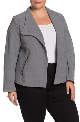 PREMISE STUDIO Textured Zip Pocket Blazer (Plus Size)