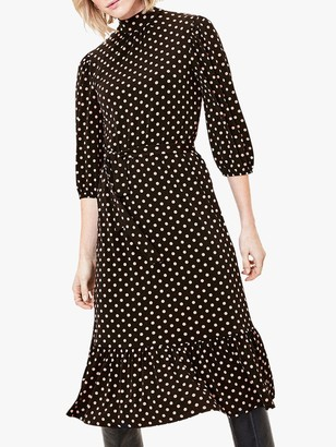 Oasis Spot Midi Dress, Black/Multi