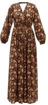 Matteau - Backless Balloon-sleeved Cotton-poplin Maxidress - Womens - Yellow Print