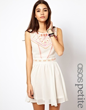 Asos Exclusive Skater Dress With Geo-Tribal Embroidery And Cross Back - White