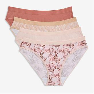 Joe Fresh Women's 4 Pack Bikinis, Multi (Size M)