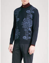 Salvatore Ferragamo Floral-jacquard Wool And Silk-blend Jumper