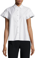 Co Ruffle-Sleeve Poplin Blouse, White