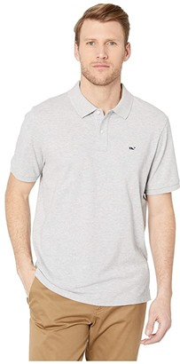 Vineyard Vines Stretch Pique Solid Polo (Gray Heather) Men's Short Sleeve Button Up